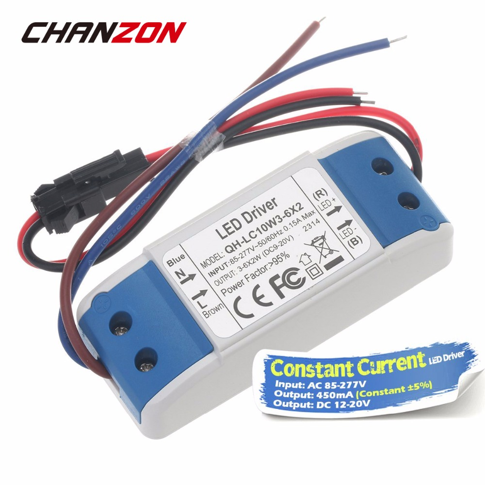 Constant Current <font><b>LED</b></font> <font><b>Driver</b></font> 450mA DC 12-20V 8W 10W 12W External Power Supply AC 100-240V 4-6X2W For 8 10 12 <font><b>Watt</b></font> COB Floodlight image