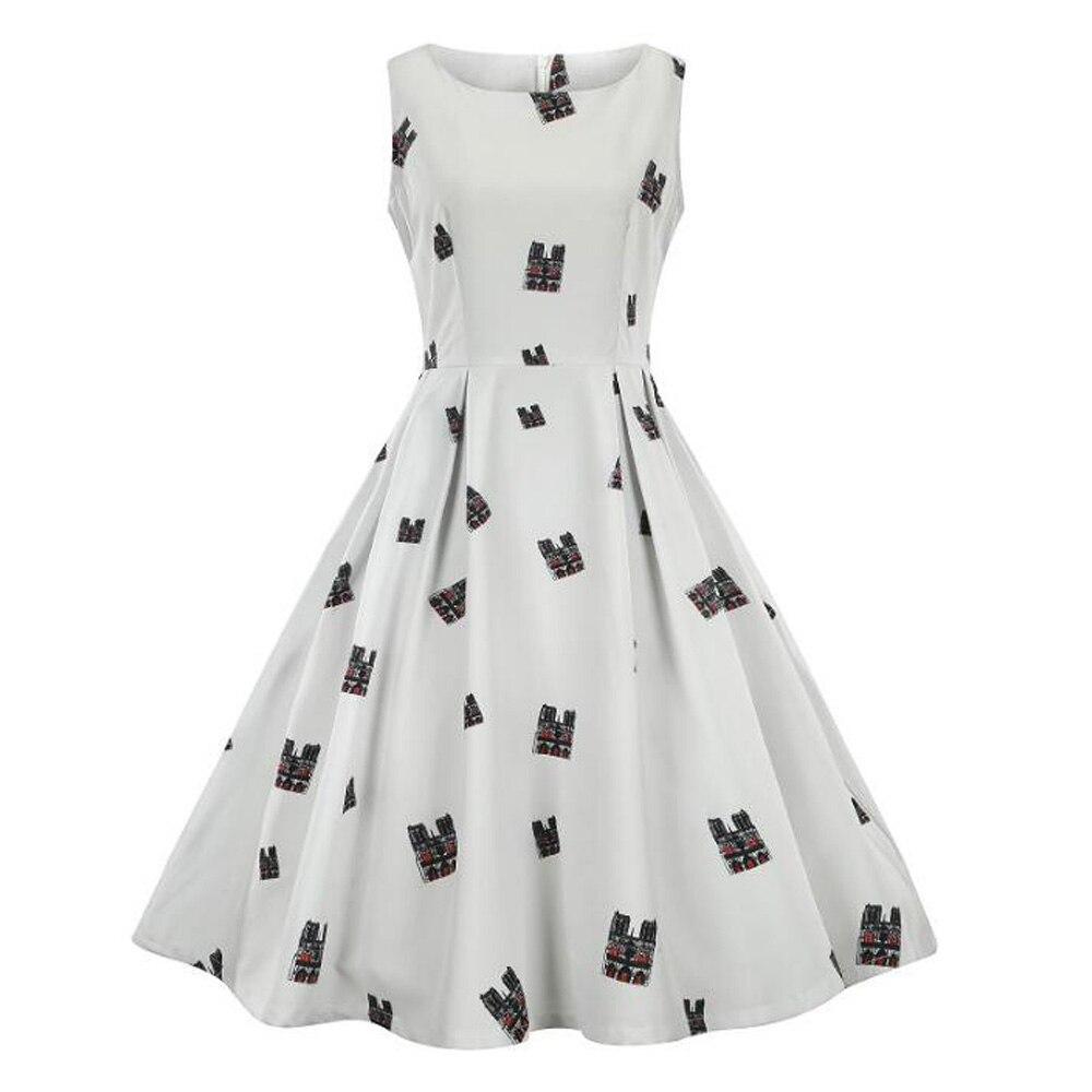 Grande taille 3XL Vintage robe femmes sans manches imprimé Style 1960s rétro bal Rockabilly robe Jurk Puffy Swing décontracté robes de soirée