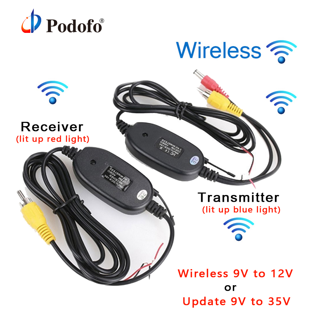 Podofo 2,4 ghz Drahtloser Rca-video Sender Empfänger Kit für Auto DVD Monitor GPS Rückansicht CCD Cam Rückunterstützungs Kamera Cam