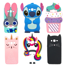 3D Cartoon Unicorn Rabbit Alice Cat Minnie Mouse Silicone Case For Samsung Galaxy J5 J500 J500F J7 J700F 2015 Back Cover Housing