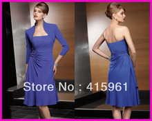 все цены на Purple Long Sleeves Knee Length Chiffon Plus Size Mother of the Bride Dresses With Jacket M821