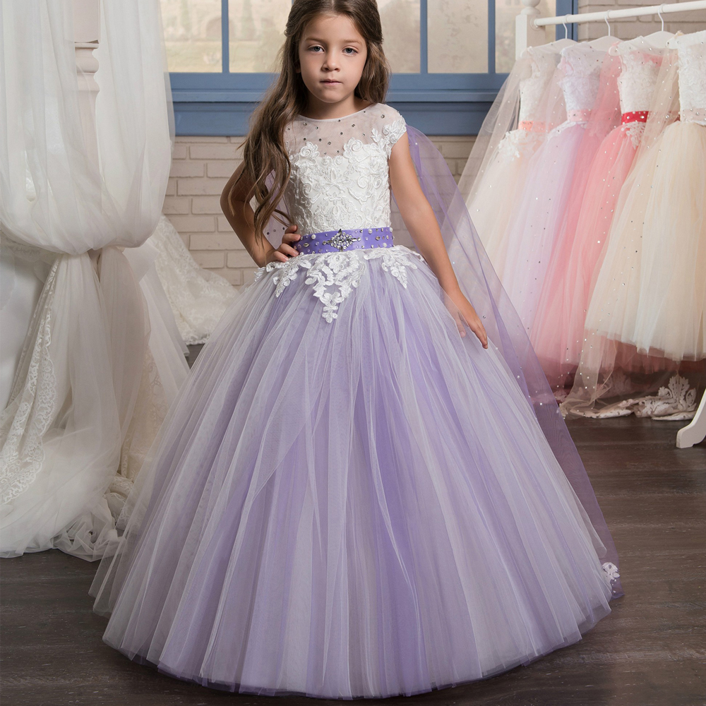 2017 New Arrival Purple Flower Girl Dresses Ball Gown O-Neck Sleeveless Beading Formal First Communion Gowns Vestidos Longo Hot