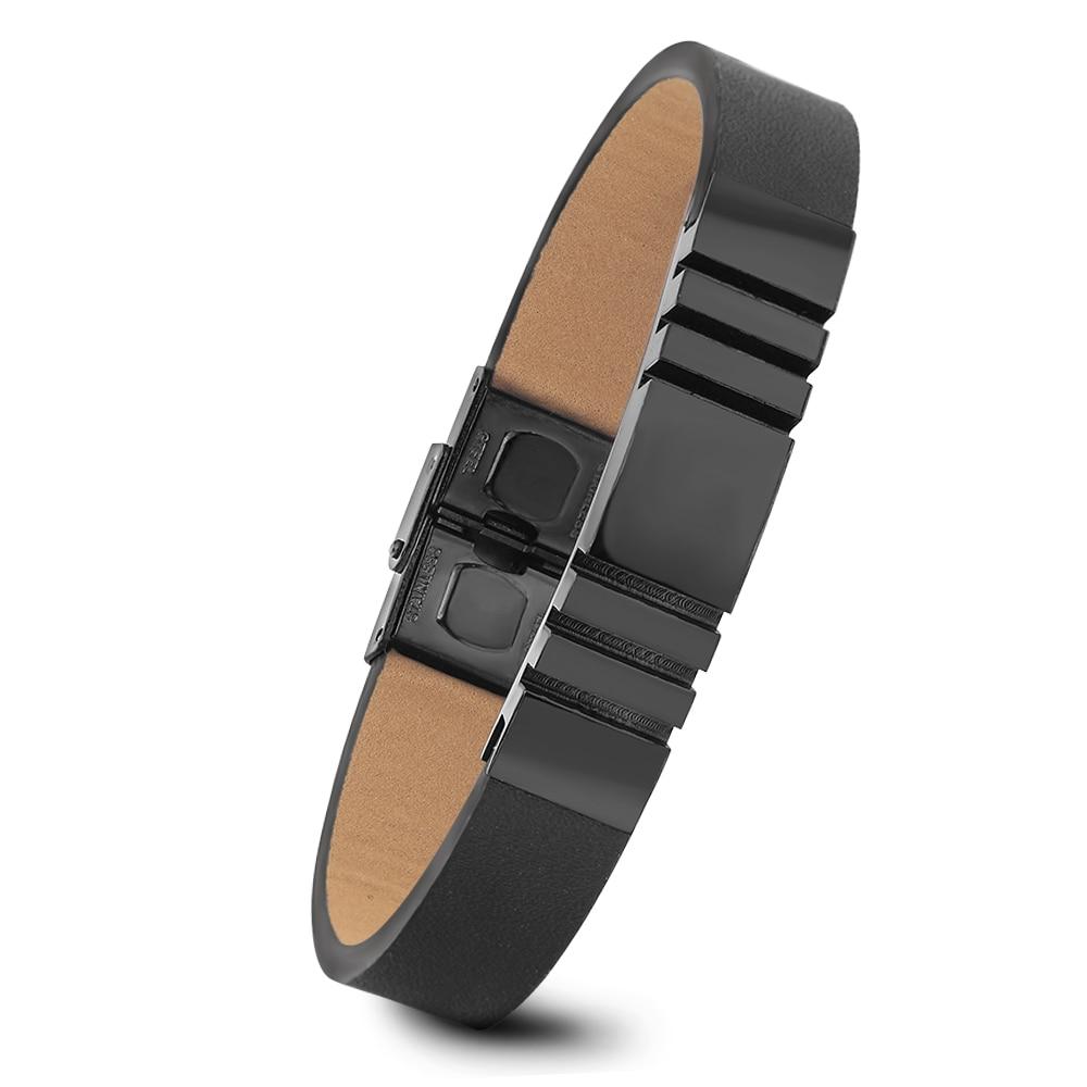 Black Genuine Leather Bracelet Men Fashion New Stainless Steel Men Jewelry Rock Chunky Leather Mens Wrap Bracelets