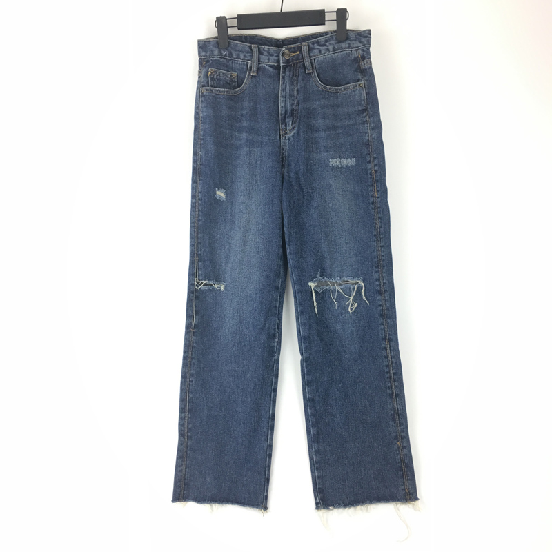 New Girls Jeans Full Length Straight Pants Zipper Fly Denim Women