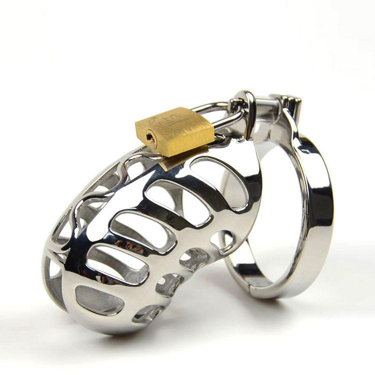 SODANDY Small Chastity Device Metal Male Chastity Belt Stainless Steel Cock Cage Penis Ring Locking Bondage Sex Products For Men