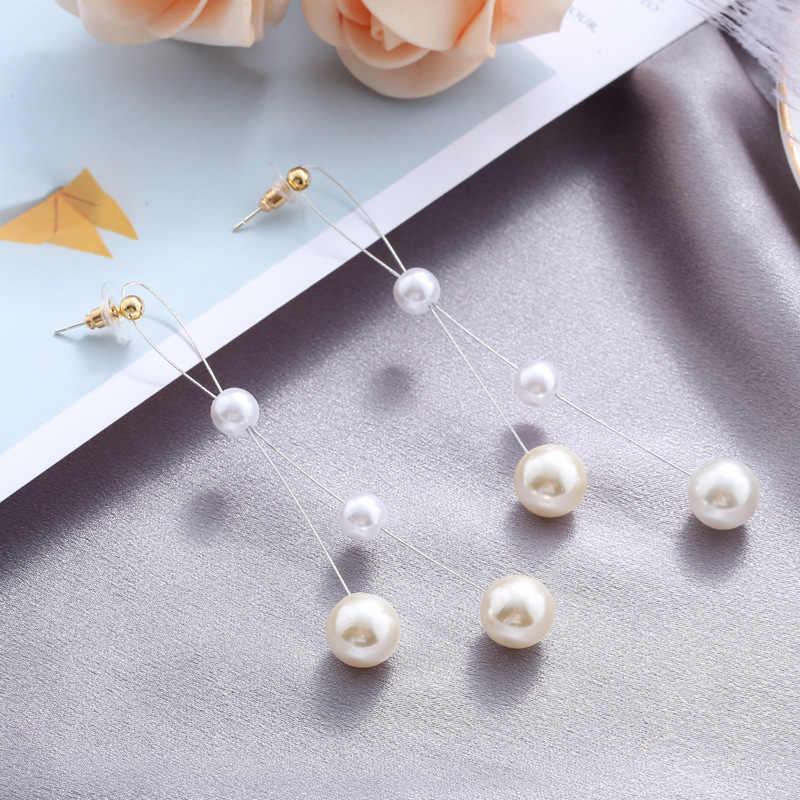 Coreano longo vermelho pérola brincos declaração corrente pendurado brincos para moda feminina balançando brincos jóias 2019 piercing