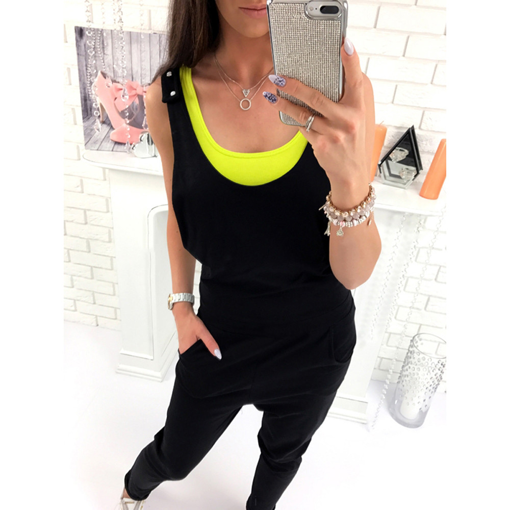 New Sleeveless Bandage Jumpsuits Backless Ladies Women O-Neck Sleeveless Playsuit Party Trousers Jumpsuit