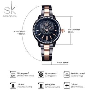Image 5 - SHENGKE Rose Gold Watch Women Crystal Decoration Luxury Quartz Watch Female Wrist Watch Girl Clock Ladies Relogio Feminino