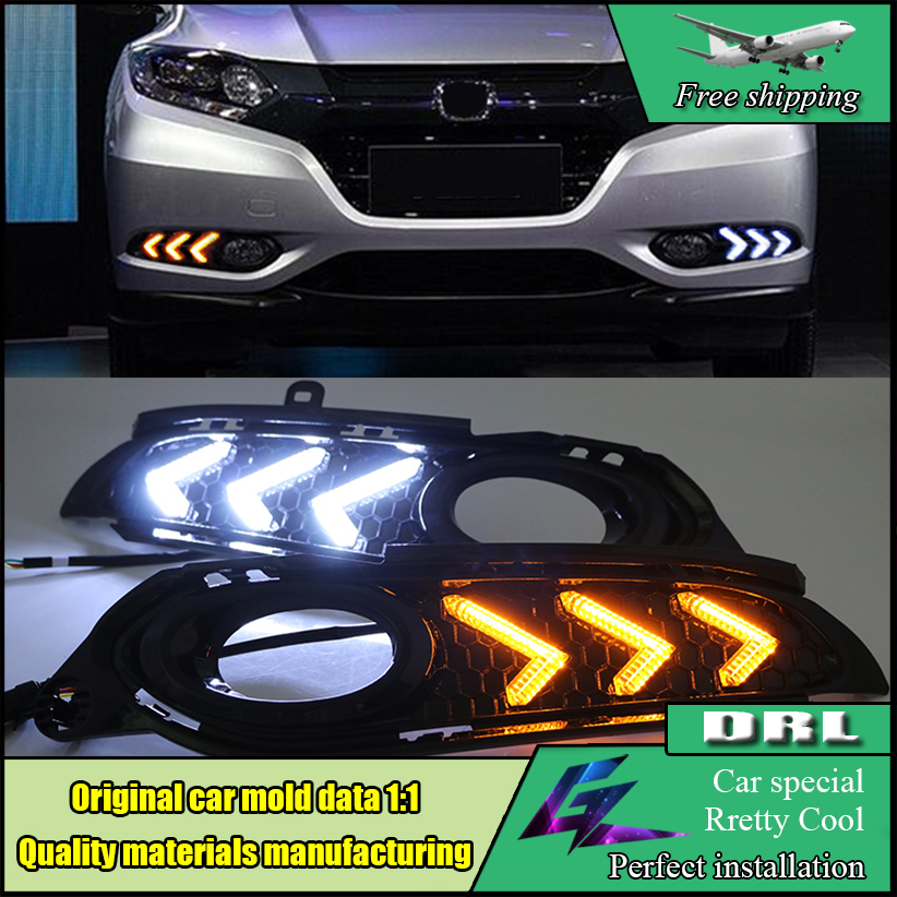 Car Styling LED Daytime Running Light DRL For HONDA HRV HR-V 2014 2015 2016 Vezel LED DRL Fog Lamp Turn Signal Daylight diy hand stitched black red genuine leather car steering wheel cover for honda new fit city jazz 2014 2015 hrv hr v 2016
