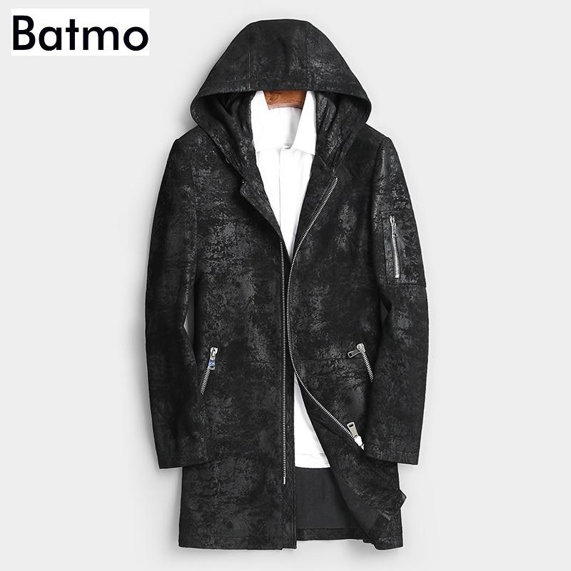 Batmo 2019 nouveauté automne haute qualité en peau de mouton à capuche long trench coat hommes, hommes en cuir véritable vestes hommes