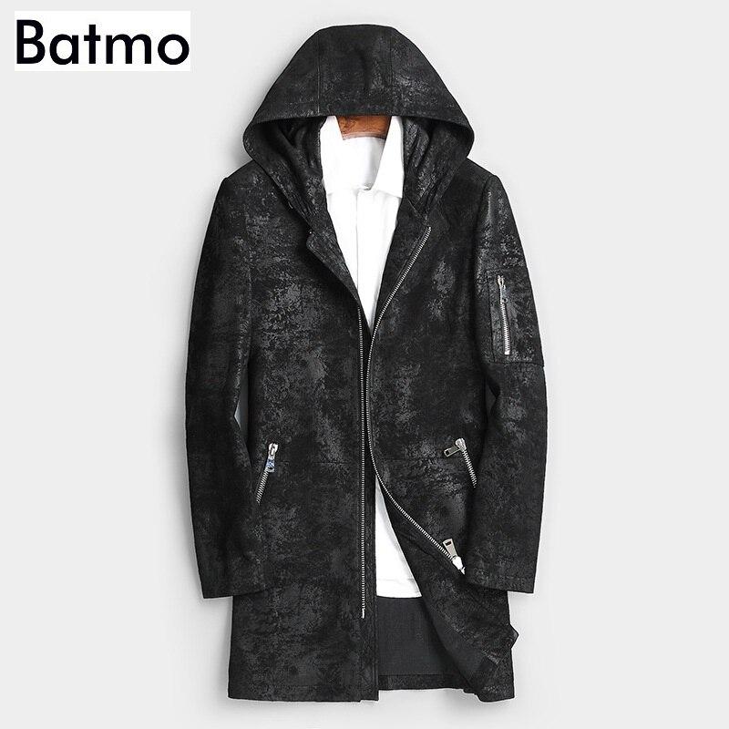 Batmo 2019 nueva llegada otoño alta calidad piel de oveja con capucha largo gabardina hombres, chaquetas de cuero real para hombres