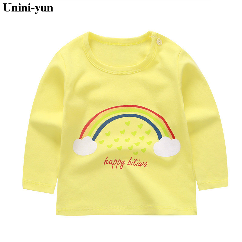 купить Fashion Brand Girls T-shirt Kids Tops Tee Designer Toddler Baby Boys T Shirts Cotton Long Sleeve Children Tops Tee baby girls по цене 174.75 рублей