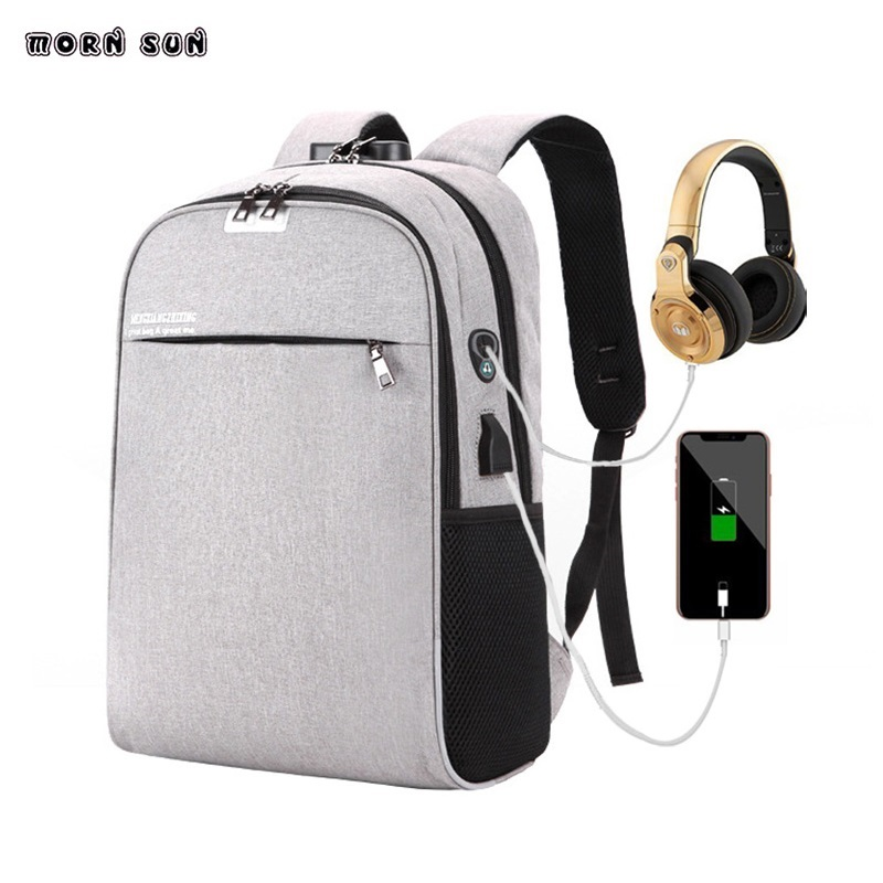 USB charging with password lock headphone hole backpack college students  new business computer bag Waterproof travel backpacks-in Backpacks from  Luggage ... 4992e4ee072e0
