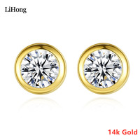 Real Gold Shiny Zircon Stud Earrings 14K Gold Ladies Fashion Delicate Round Earrings High Jewelry Gift