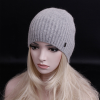 Newest fashion elegant cashmere hat letters beanies gorros woman winter hat knitted hat Solid color wool cap casual hat