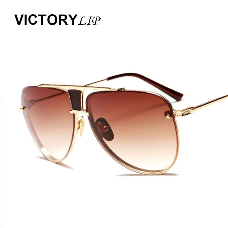 VictoryLip Sunglasses Brand Designer Mirror Pilot Men Women Sun Glasses Metal Frame Vintage Cool Fashion aviation Rimless 2017