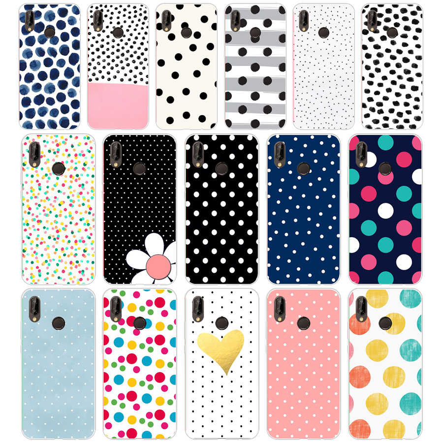 67G Polka Dots For Huawei P20 Lite Case Cover Soft Silicone TPU Cover Back Protective Phone For Huawei P20 Lite Case