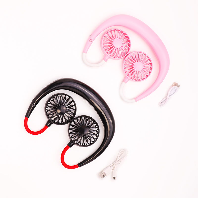 2000 mAre USB Portable Fan Hands-free Neck Fan Hanging Rechargeable Mini Sports Fans 3 gears Air Conditioner Adjustable Home