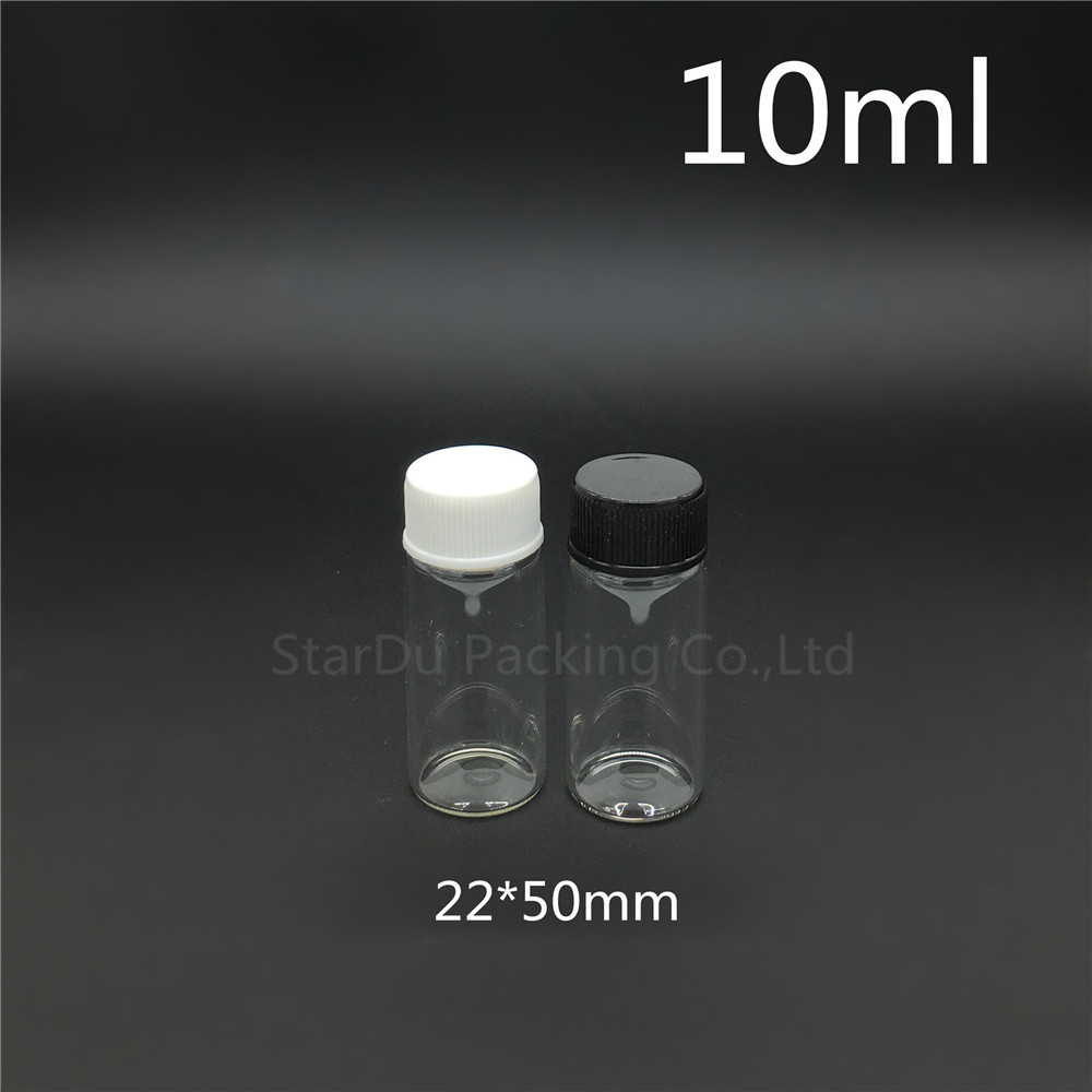 Free shipping 20pcs/lot diameter 22mm 10ml glass bottle Plastic cap for vinegar <font><b>alcohol</b></font>, carft/storage candy bottles