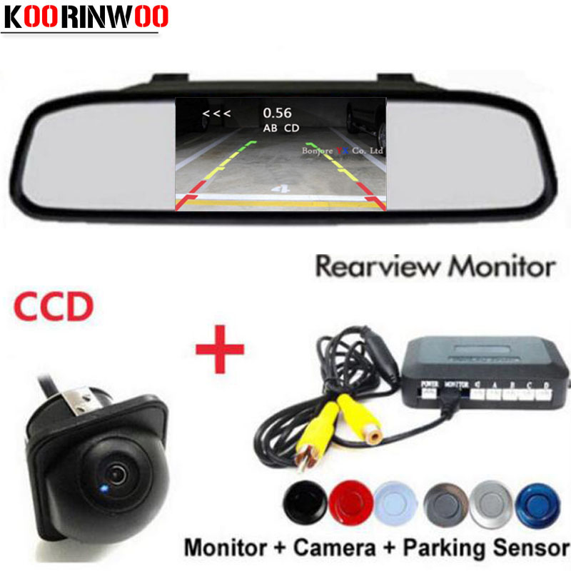 Koorinwoo Dual Core CPU Car Sensores de Estacionamento Alarme Buzzer Rear Monitor de espelho retrovisor Do Carro da câmera Do Carro detector de Radar Parktronic
