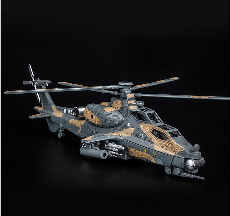 High imulation Armed Helicopter Model, 1: 32 Alloy Pull Back Airplane Model, Musical& Flashing ,metal diecast, Free Shipping image