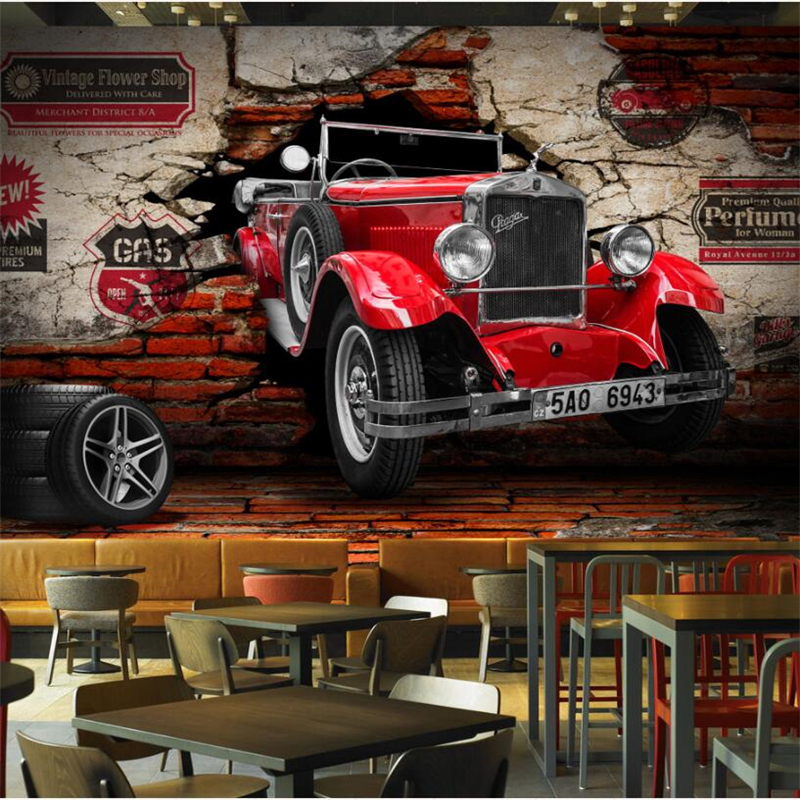 beibehang Custom wallpaper papier peint mural 3d 3D retro classic car car broken wall restaurant restaurant background wall
