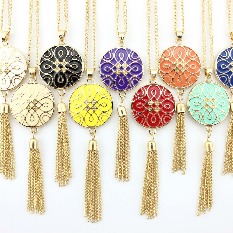 10 Colors Gold Tone Women Tassel Necklace Enamel Designer Inspired Monogram Tassel Pendant Necklaces золотые серьги по уху