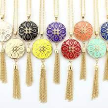 10 Colors Gold Tone Women Tassel Necklace Enamel Designer Inspired Monogram Tassel Pendant Necklaces