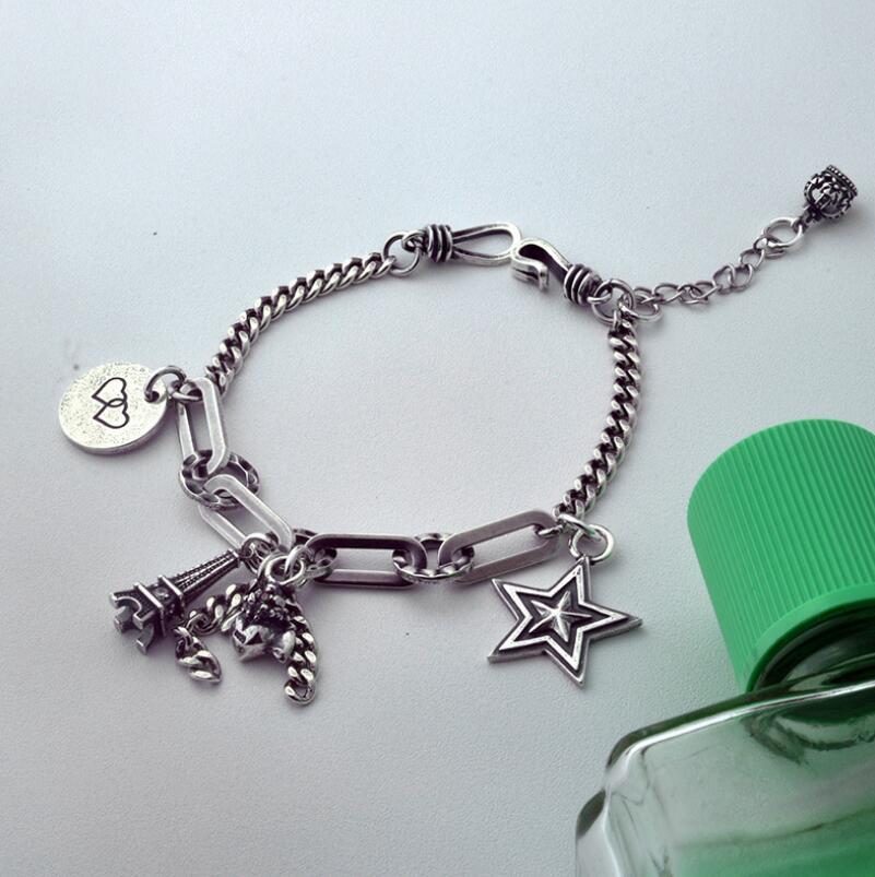 Pur argent S925 argent vintage tour coeur étoile pendentif lien chaîne bracelet 925 bijoux en argent (YRT) - 2