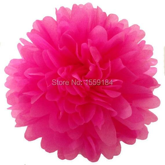 Free Shipping 200pcs 4 (10cm ) Hot Pink Tissue Paper Pompoms Mix Color Flower Balls Wedding supplies Decoration Pom Poms