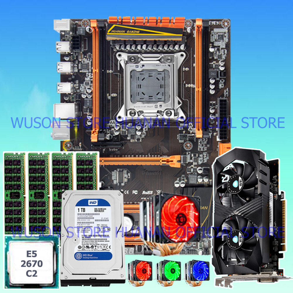 HUANAN deluxe X79 motherboard CPU E5 2670 C2 with 6 heatpipes cooler RAM 16G DDR3 RECC 1TB SATA HDD GTX1050Ti 4G video card