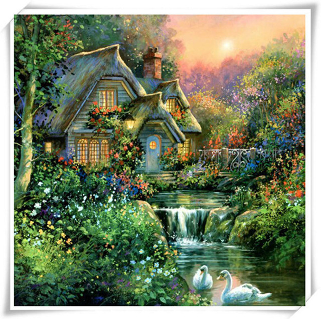 full drill 5d diy green cabin diamond painting dream garden house handicraft diamond picture embroidery cross - Dream Garden