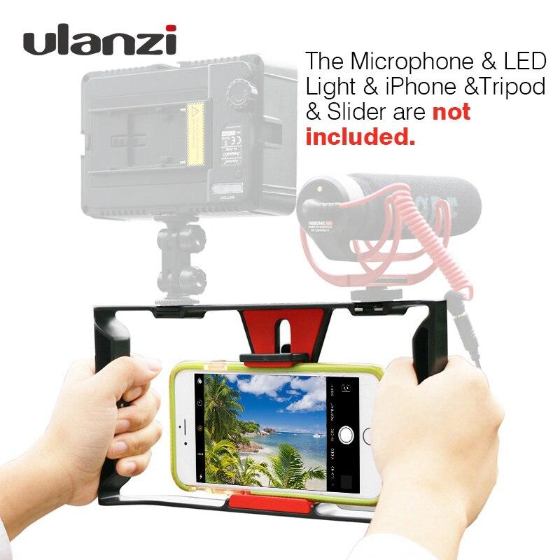 Ulanzi Smartphone Video Rig Vlogging registro mango Rig Case cine estabilizador Grip teléfono soporte para iPhone X 7 Samsung BY-MM1