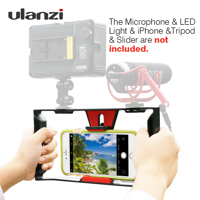 Ulanzi Smartphone Video Rig Vlogging Record Ročaj Rig Case filma Izdelava stabilizatorja Grip Phone Mount for iPhone X 7 Samsung BY-MM1