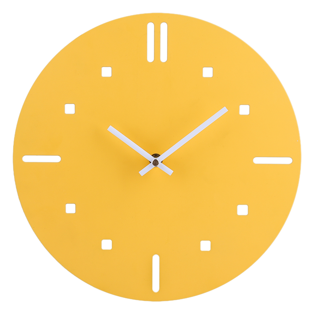 12 Inch Simple Style Iron Art Brief Wall Clocks For Home Decor Brief Wall Clock Modern Silent Clocks Drop Shipping - Yellow