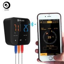 Digoo DG FT2303 трехканальный умный термометр Bluetoorh для барбекю, Кухонный Термометр для приготовления пищи+ Температурный Зонд из нержавеющей стали