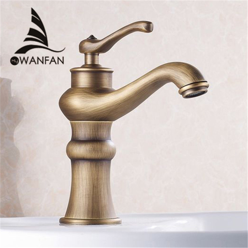 Basin Faucets Antique Bronze Brass Deck Bathroom Vessel Sink Faucet Tall Single Handle Hot Cold Mixer Water Tap WC Cock HJ-6601F  antique bathroom vanity sink faucet single ceramic handles brass hot and cold basin mixer copper pop up drain