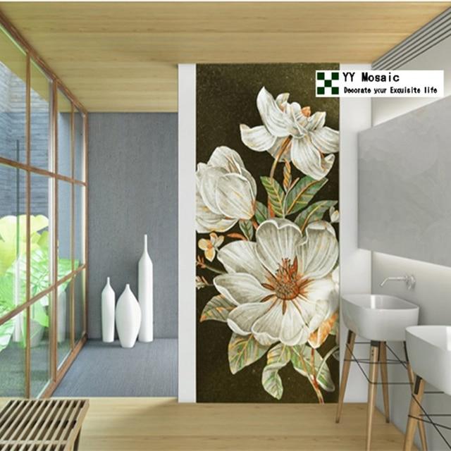 Benutzerdefinierte Luxus Weiß Blume Wandbild Schimmer Eis Jade Glas Mosaik  Fliesen Wand, 10 Jahre Farbe