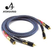 ATAUDIO jedna para Ortofon 8N OFC Hifi kabel RCA czysta miedź intecconnect kabel Audio z wtyczkami RCA z włókna węglowego