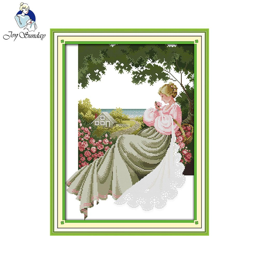 Joy Sunday A Rose Garden Counted Cross Stitch 11CT 14CT DMC DIY Kits For Embroidery Home Decor Needlework R523