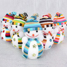 Christmas Snowman Hanging Doll Exclusive For Home Christmas  Tree Decorations Children's Gift Tiny Toy Random Color cute holiday snowman doll lint cellucotton toy for christmas white red