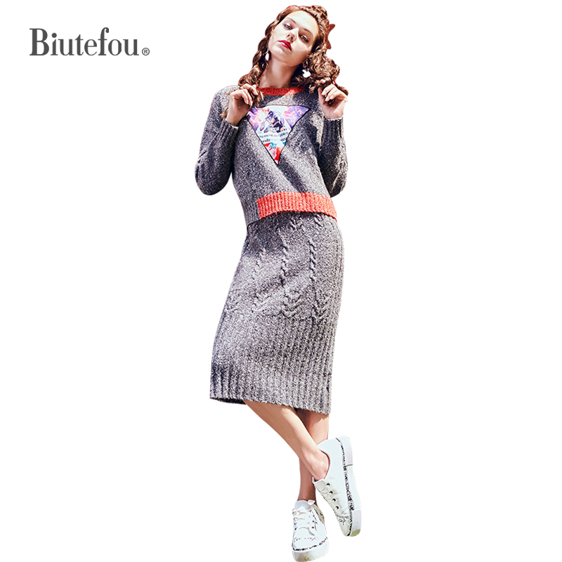 2019 Autumn womens sets cartoon patch designs sweaters+fashion knitted sling dress two pieces