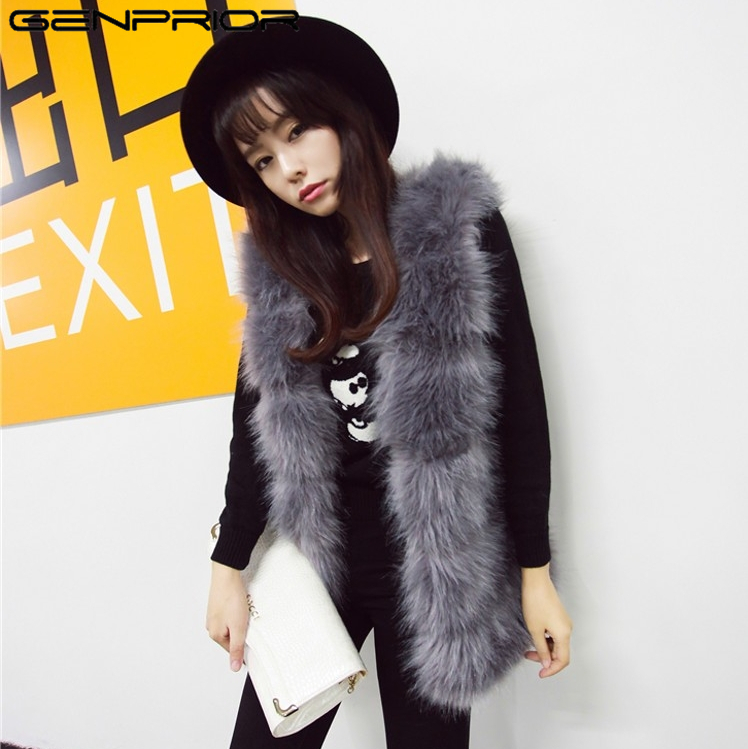 GENPRIOR Fox Fur Vest Warm Women Long Section 2017 Winter New Sleeveless Female Fur Coat ...