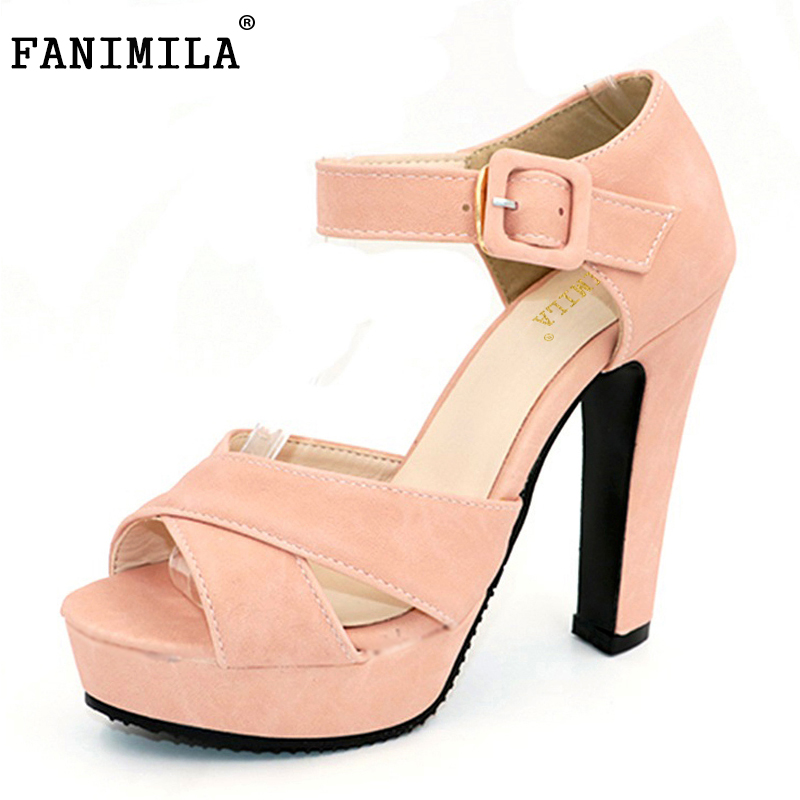 FANIMILA Peep Toe Ankle Strap Thick High Heel Sandals Platform Ladies Shoes Women Brand Dress Footwear Sandal Mujer size 32-43 women peep toe ankle strap platform high heel sandals summer sexy fashion ladies heeled footwear heels shoes size 34 39 p16703