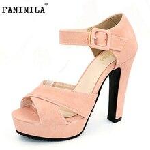 Fanimila открытый носок Ремешок на щиколотке босоножки на толстом высоком каблуке Женская обувь на платформе женские Брендовое платье обувь сандалии Mujer размеры 32-43