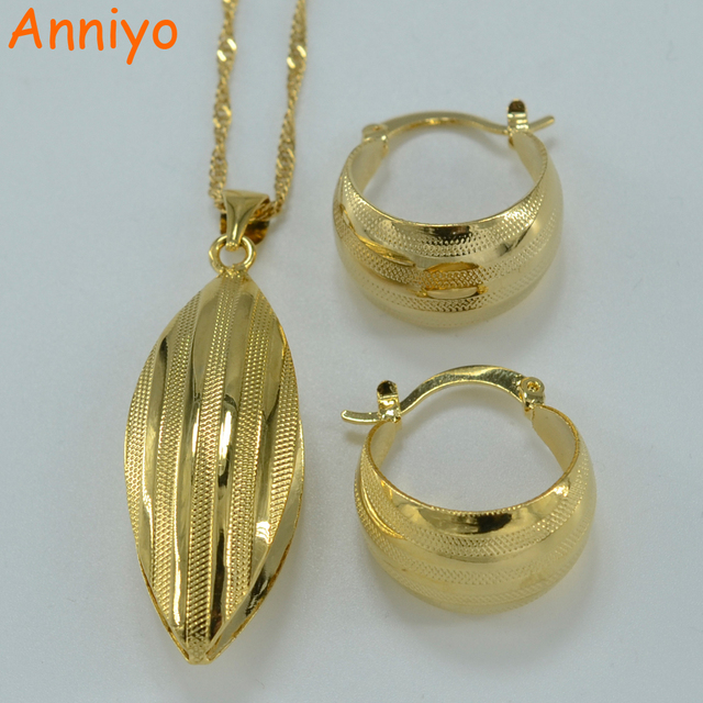 Anniyo Ethiopian Set Jewelry Pendant Necklace Earring Gold Color African Bridal Wedding Jewellery Arab 054806