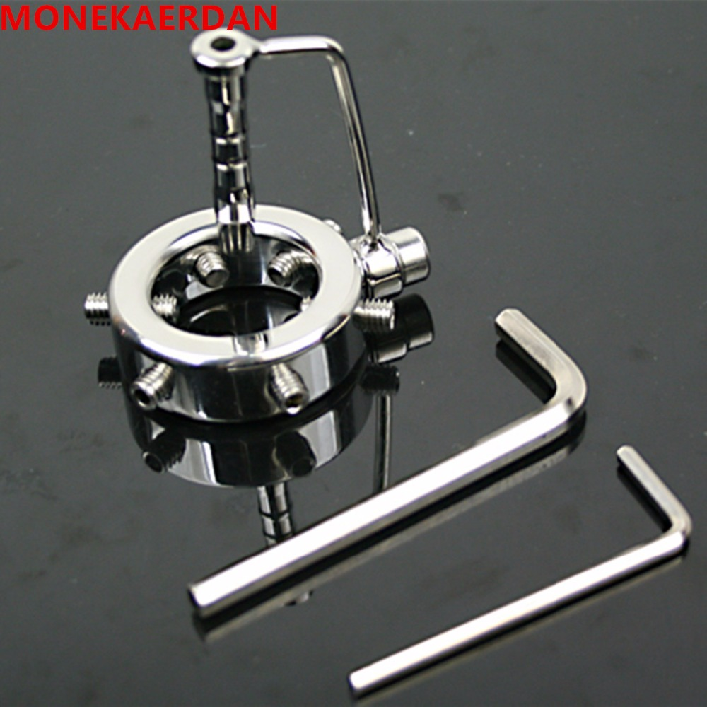 Stainless Steel Metal Cock Cage Penis Rings Scrotum Chastity Bondage Slave In Adult Games , Fetish Sex Toys For Men - AW38
