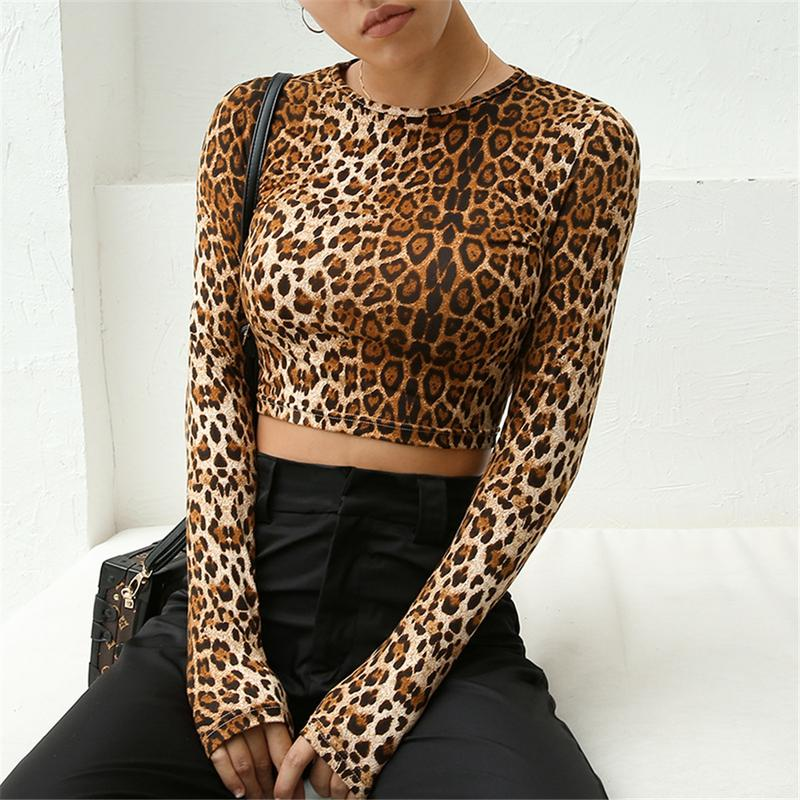 New Stylish Women Round Neck Casual Slim Crop Top Leopard Print Top Fashion Short T-shirt