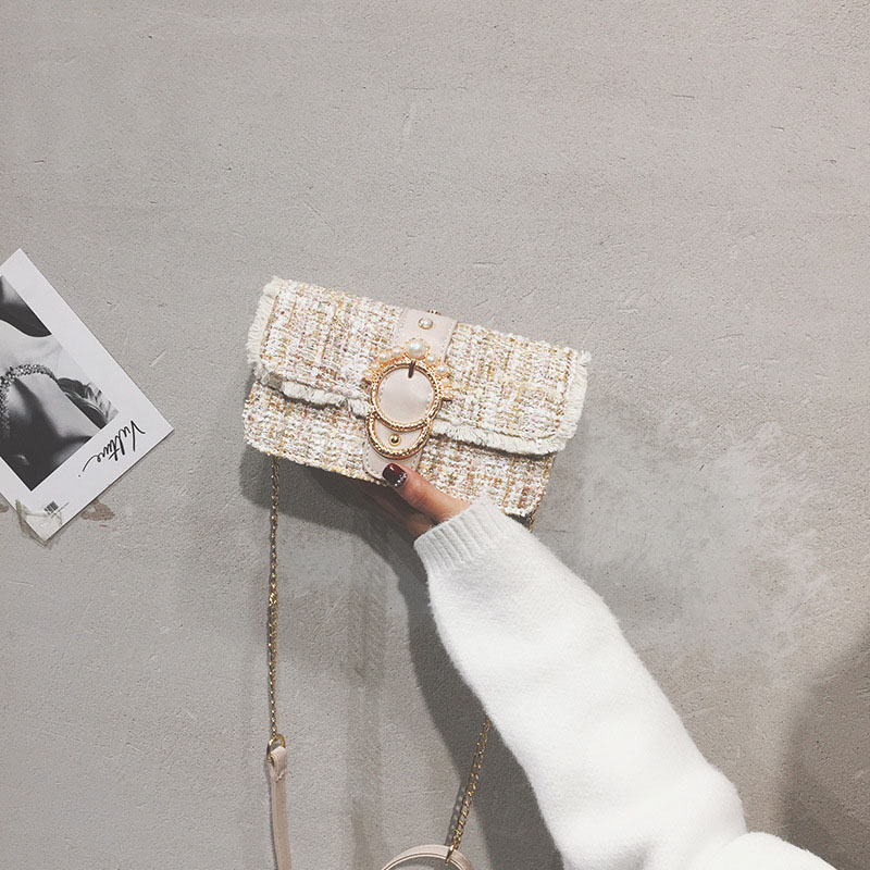 Fashion Women New Knit Flap Shoulder Bag INS Popular Casual Female Tassel Weave Handbag Mini Lady Pearl Chain Crossbody SS3458 (15)