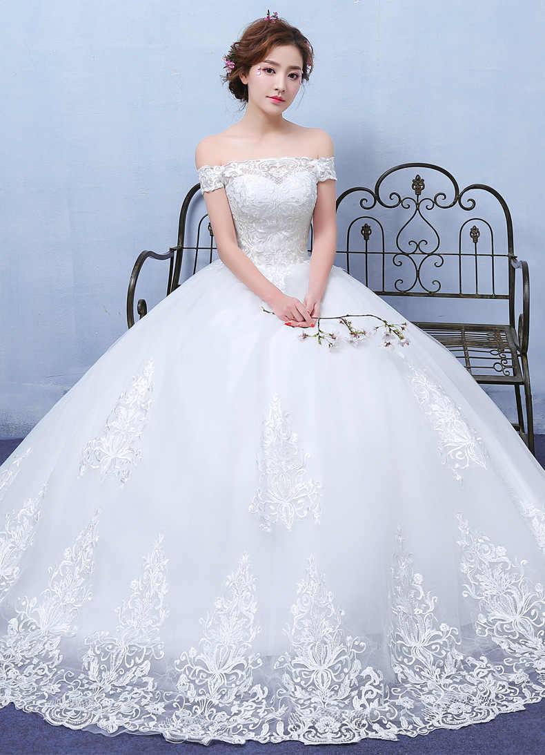 bb584eed4 Vestidos de novia Новинка 2019 года кружево Пол Длина платья для женщин  свадьбы с открытыми плечами